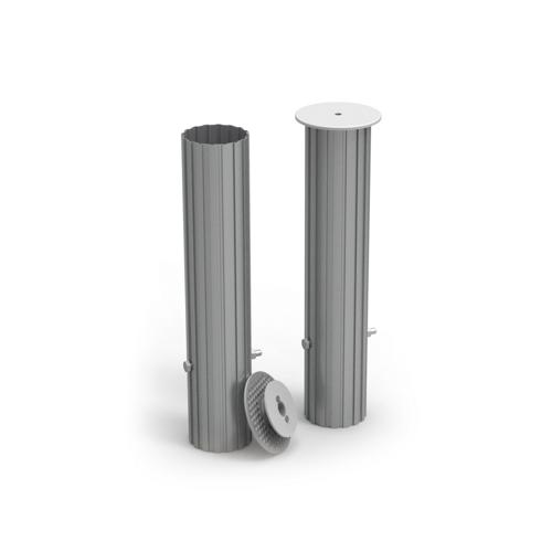 Jeu de 4 fourreau aluminium pour buts de football repliable de diamètre 60 mm