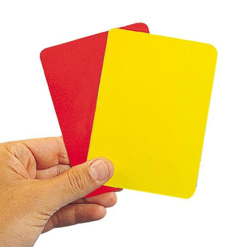 LOT 2 CARTONS ARBITRE JAUNE + ROUGE