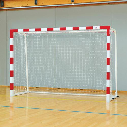 Buts de handball compétition monobloc acier peint bicolore avec 4 ancrages