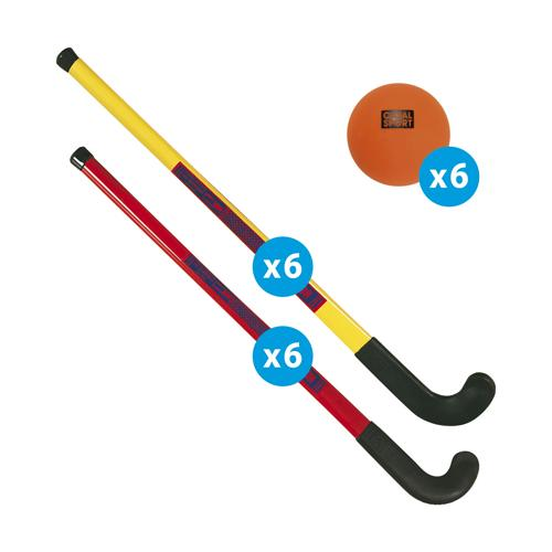 Matériel initiation hockey - lot de 12 crosses et 6 balles