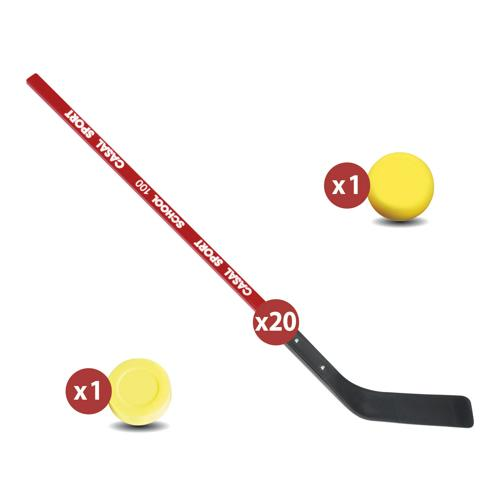 Matériel street hockey school - lot de 20 crosses + 6 balles + 6 palets
