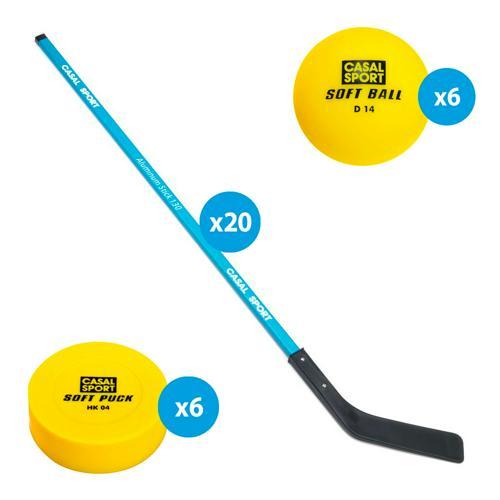 Matériel de street hockey alu secondaire - Lot de 20 crosses + 6 balles + 6 palets