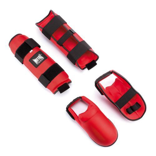 Protège tibia+pied détachable rouge