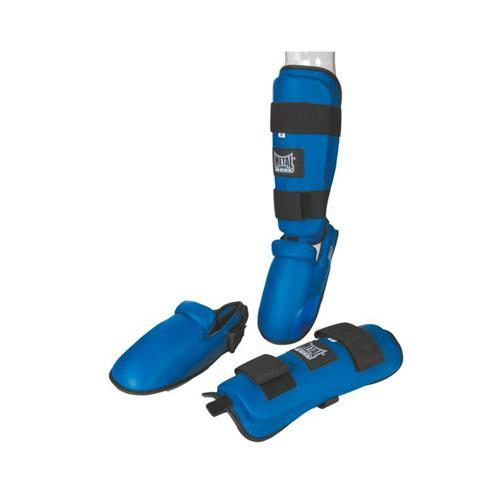 Protège tibia+pied détachable bleu
