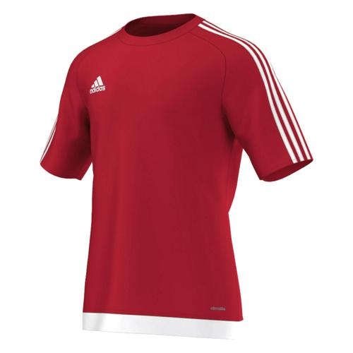 Maillot manches courtes adidas Estro rouge blanc