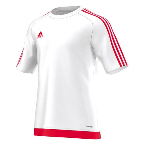 Maillot manches courtes adidas Estro blanc rouge