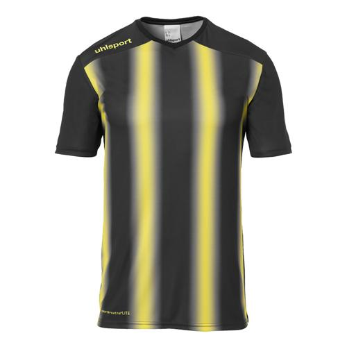 Maillot MC Stripe 2.0 Noir/Jaune UHLSPORT
