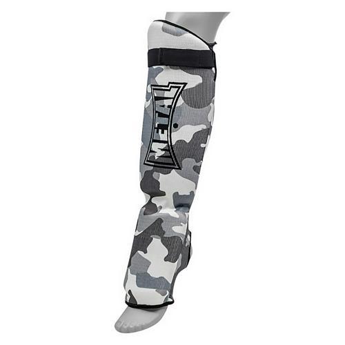 Protège Tibia + Pied Coton Métal Boxe Elast Noir
