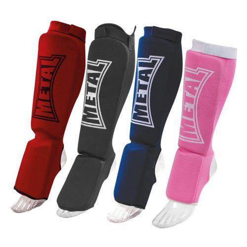 Protège Tibia + Pied Coton Métal Boxe Elast Rouge