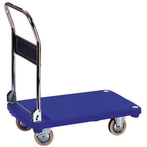 Chariot plastique dossier rabattable - Force 200 kg Manutan