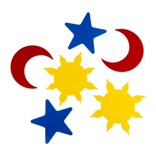 Lot de 6 marquages au sol Étoile, Soleil, Lune