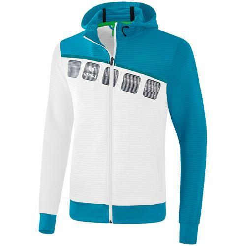 Veste PES capuche 5-C Blanc/Bleu Erima