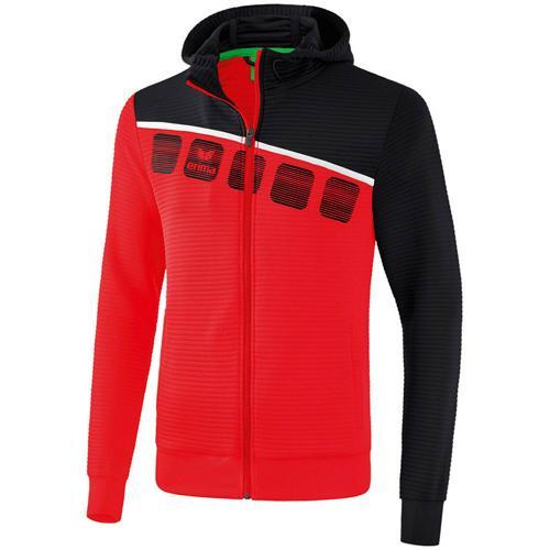 Veste PES capuche 5-C Rouge/Noir enfant Erima