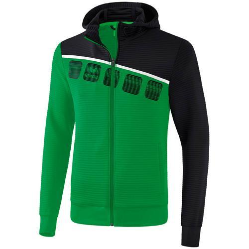 Veste PES capuche 5-C Vert/Noir enfant Erima