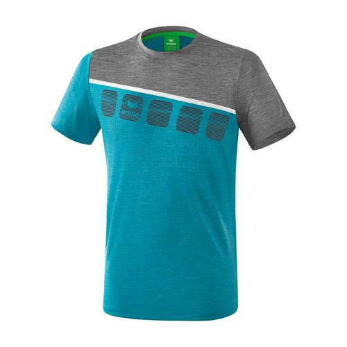 T-Shirt 5-C Bleu chiné/Gris chiné Erima