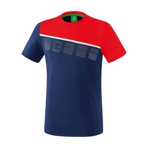T-Shirt 5-C Marine/Rouge Erima