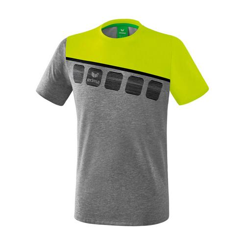 T-Shirt 5-C Gris chiné/Jaune Erima