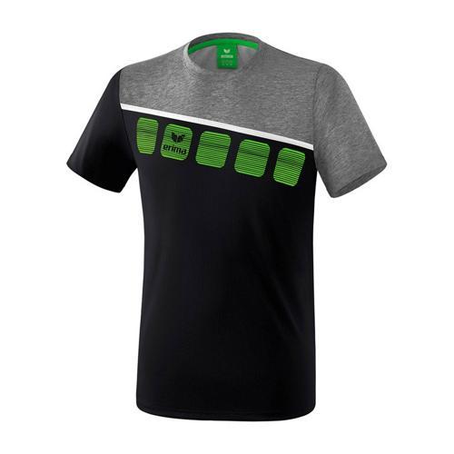 T-Shirt 5-C Noir/Gris chiné enfant Erima