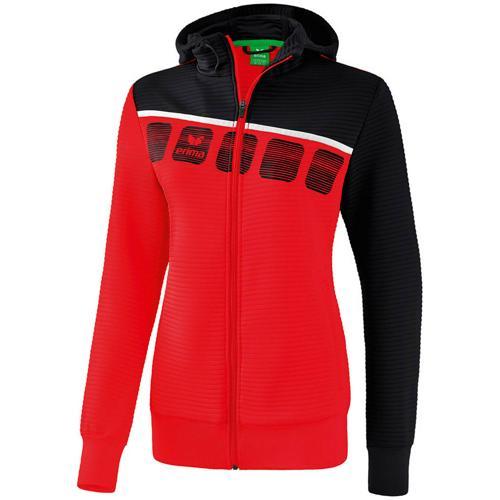 Veste PES capuche 5-C Rouge/Noir Feminin Erima
