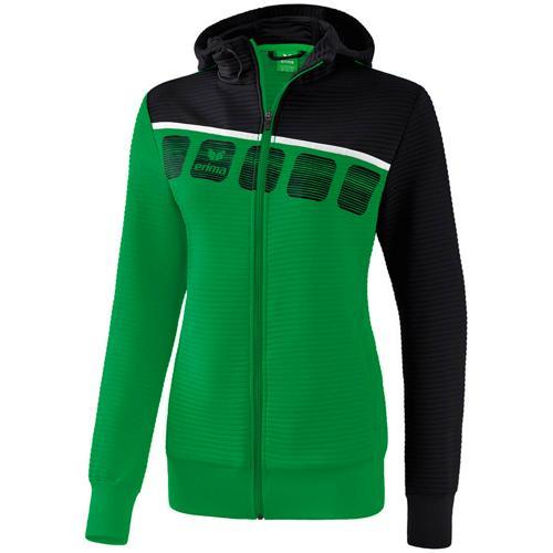 Veste PES capuche 5-C Vert/Noir Feminin Erima