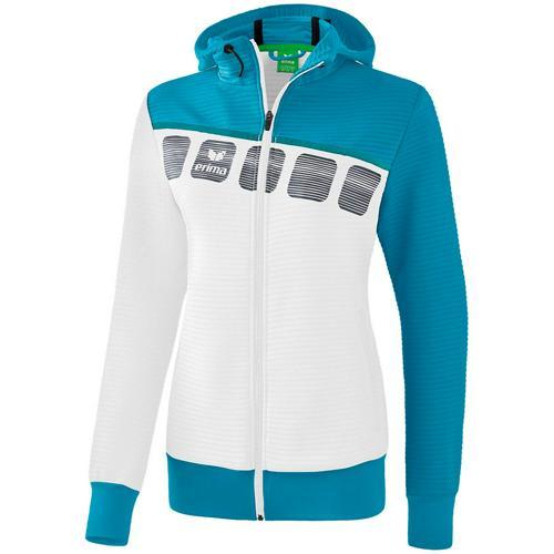 Veste PES capuche 5-C Blanc/Bleu Feminin Erima