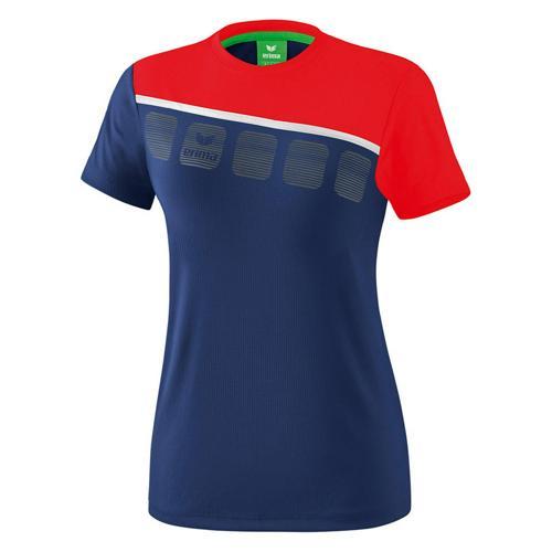 T-Shirt 5-C Marine/Rouge Feminin Erima