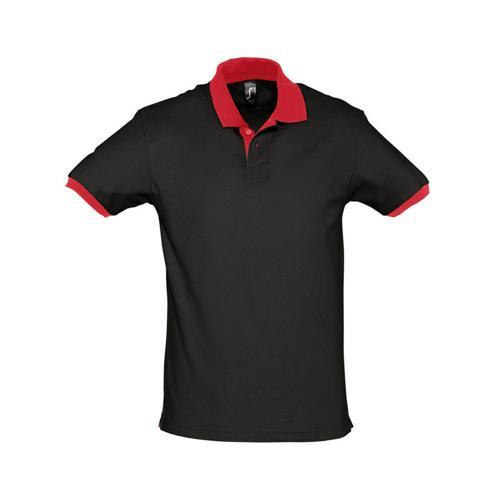 Polo prince expert coton noir rouge - Casalsport.