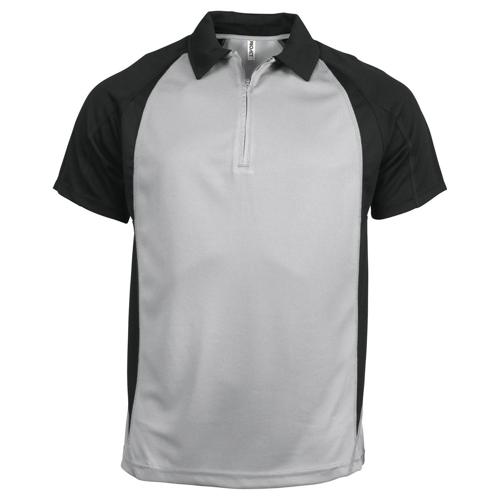 POLO 1/2 ZIP PLAYER PES TECH GRIS ARGENT-NOIR