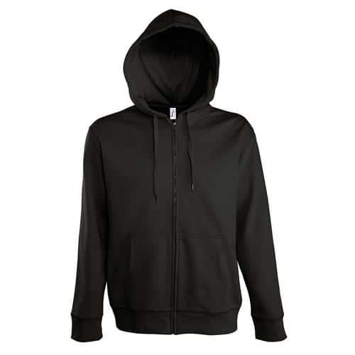 Veste zippée à capuche Uni Tech noir