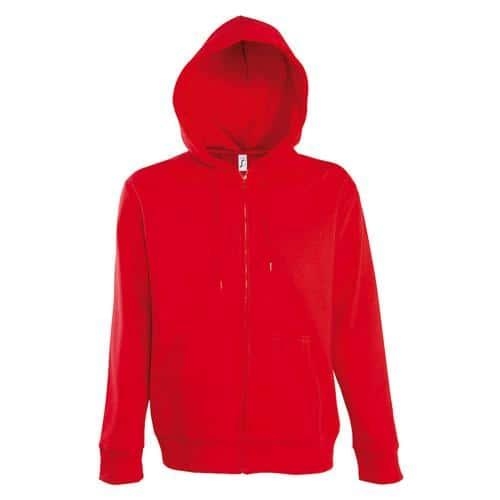 Veste zippée à capuche Uni Tech rouge