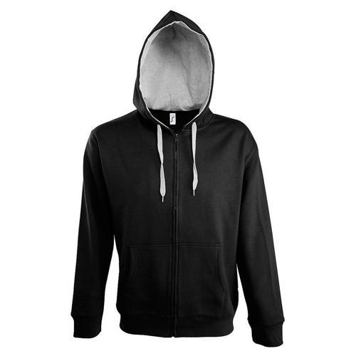 Veste féminine zippée à capuche Contrastée noir