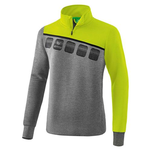 Sweat 1/2 zip 5-C Gris chiné/Jaune Erima