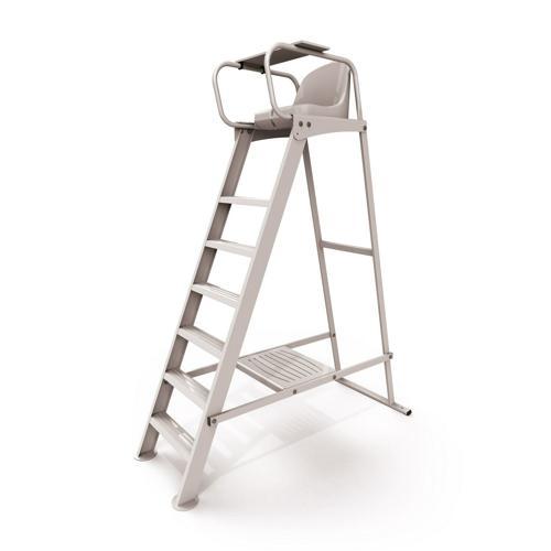 Chaise d'arbitre en aluminium brut, support vêtements, conforme au règlement FFT / l'unité