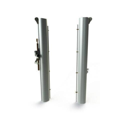 Poteaux en aluminium ovoide, à sceller, fourreaux ovoide et partie supérieure ovoide livrés sans fourreaux / la paire
