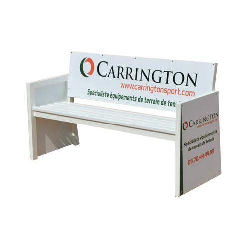 Banc de tennis publicitaire pour joueurs - Carrington - 3 places alluminium