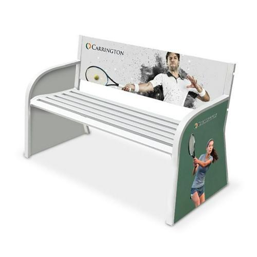 Banc de tennis publicitaire pour joueurs - 2 places acier