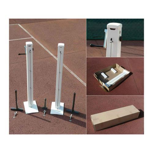 Poteaux tennis carrés sur platines acier