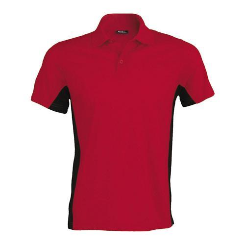 Polo bicolore team piqué coton rouge noir