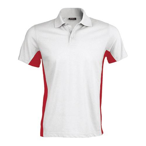 Polo bicolore team piqué coton blanc rouge