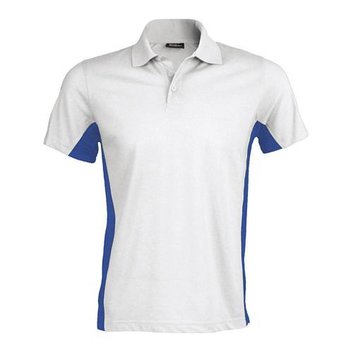 Polo bicolore team piqué coton blanc royal