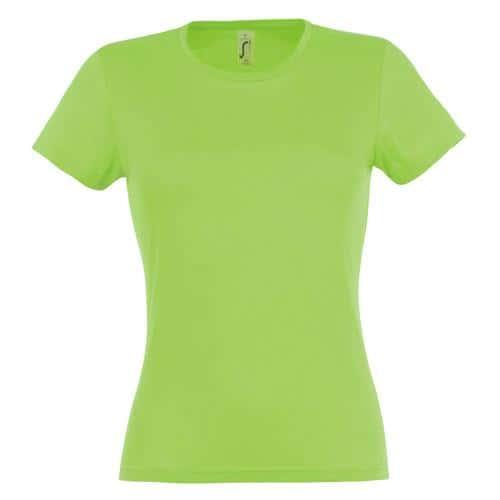Tee-shirt classic femme vert pomme coton 150 g