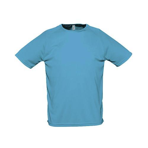 Tee-shirt uni technic PES adulte bleu atoll