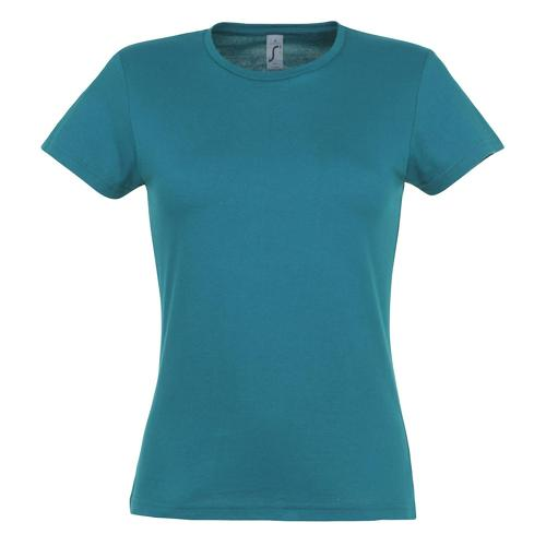 Tee-shirt classic femme bleu aqua coton 150 g