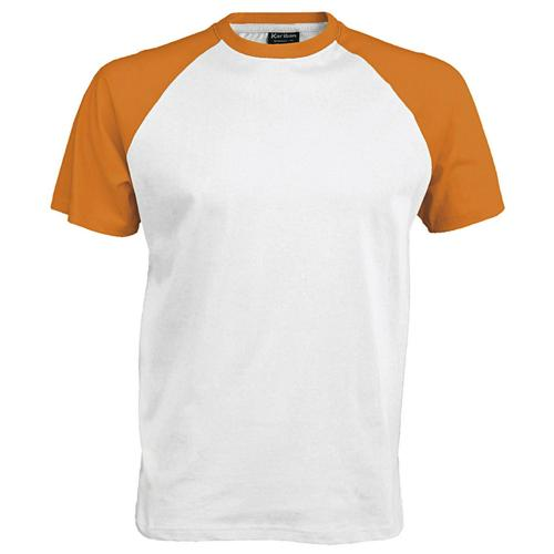 T-shirt bicolore Traditional blanc orange