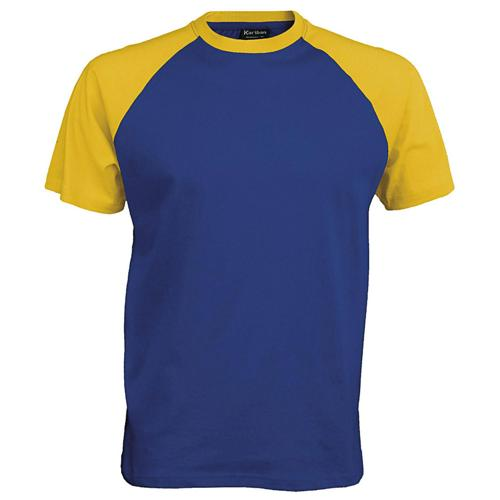 T-shirt bicolore Traditional bleu royal jaune
