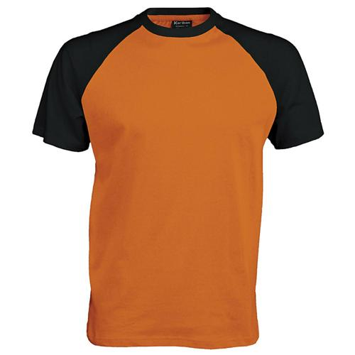 T-shirt bicolore Traditional orange noir