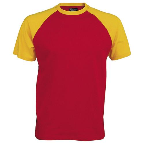 T-shirt bicolore Traditional rouge jaune
