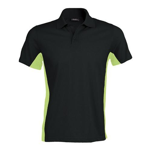 Polo bicolore team piqué coton noir vert