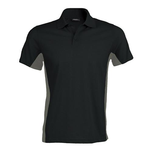 Polo bicolore team piqué coton noir gris