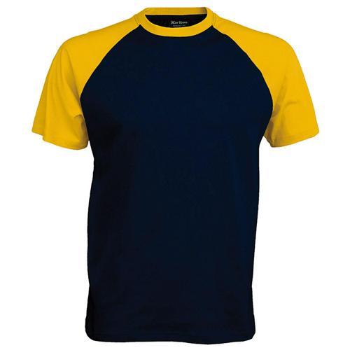 T-shirt bicolore Traditional marine jaune
